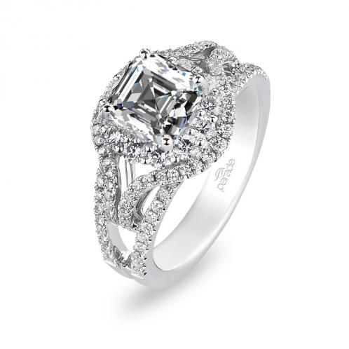 Parade Design Hemera Bridal Halo Pave Split Shank Engagement Ring
