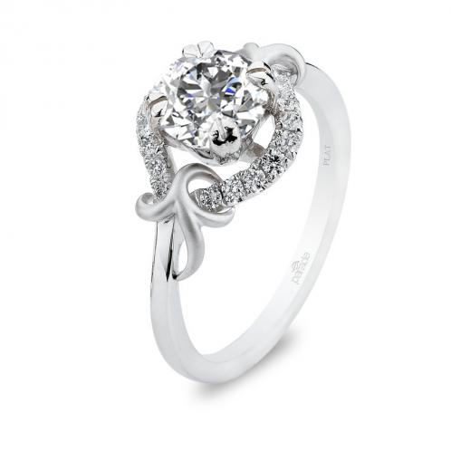 Parade Design Lyria Bridal Leaves Prong Design Pave Diamond Ring