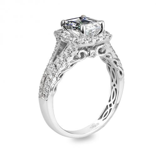 Parade Design Hemera Bridal Scroll Detail Square Halo Diamond Engagement Ring