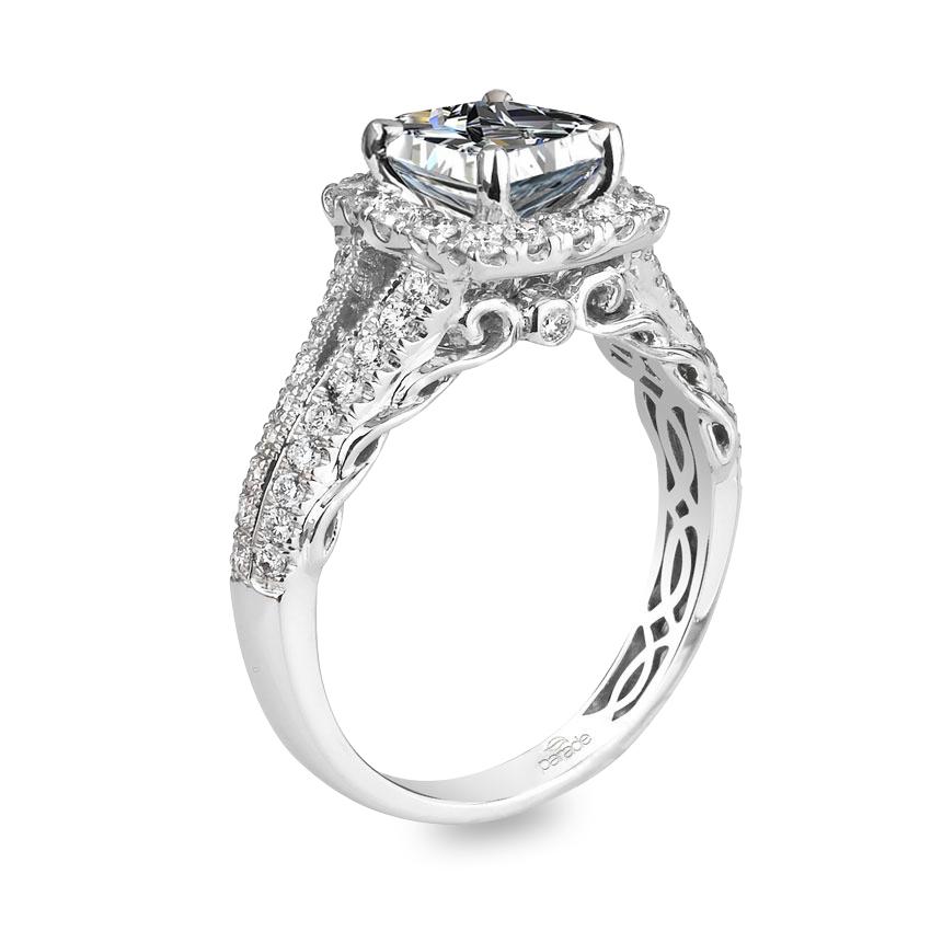 Parade Design Hemera Bridal Scroll Detail Square Halo Diamond Engagement Ring