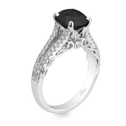 Edwardian Black Diamond Engagement Rings