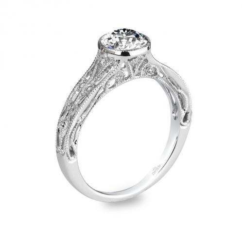 Parade Design Hera Bridal Vintage Bezel Set Milgrain Etched Pave Ring