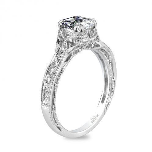 Parade Design Hera Bridal Vintage Design Milgrain Etched Pave Ring