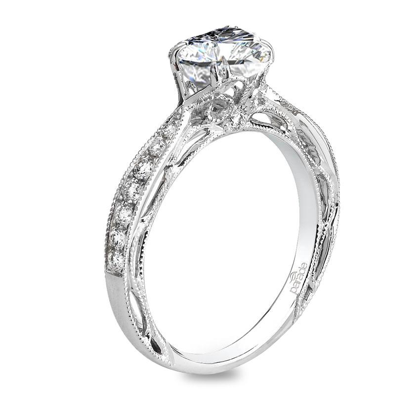 Parade Design Hera Bridal Vintage Inspired Milgrain Etched Design Pave Ring