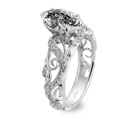 100ct Natural Diamond Marquise Cut Parade Design Hera Bridal Vintage Inspired Milgrain Etched Scrolls 18k White Gold Gia