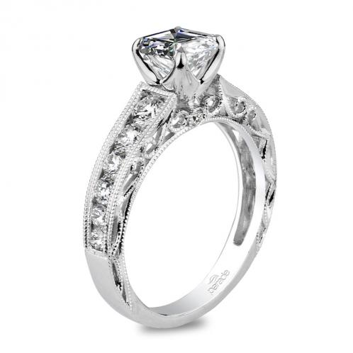Parade Design Hera Bridal Milgrain Etched Scrolls Design Pave Ring