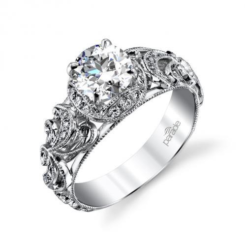 Parade Design Hera Bridal Vintage Floral Halo Pave Motif Design Ring