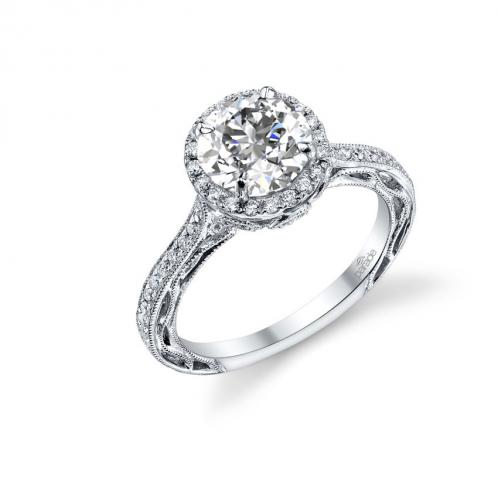 Parade Design Lyria Bridal Milgrain Etched Scroll Design Halo Pave Ring