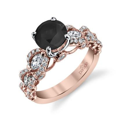 Cluster Black Diamond Engagement Rings