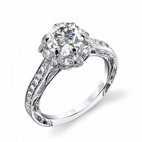 Parade Design Hera Bridal Vintage-Style Halo Milgrain Pave Design Ring