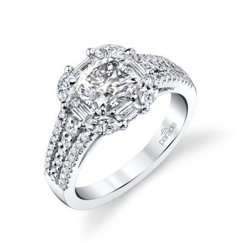Parade Design Hemera Bridal Unique Halo 3-Row Pave Ring