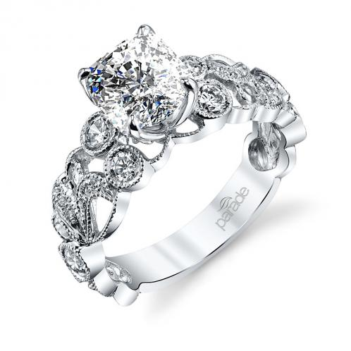 Parade Design Hera Bridal Scroll Pave Milgrain Etched Curls Design Ring