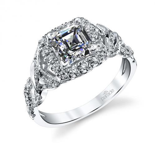 Parade Design Lyria Bridal Twisted Vines Design Halo Diamond Ring