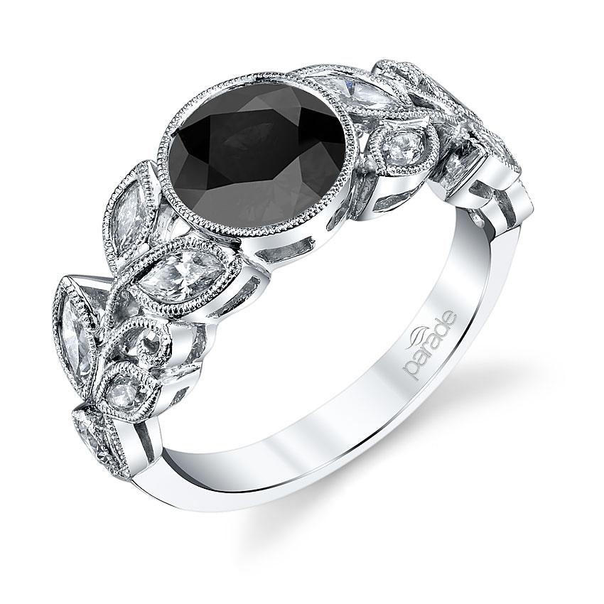 Parade Design Lyria Bridal Milgrain Cluster Leaves Design Bezel Ring