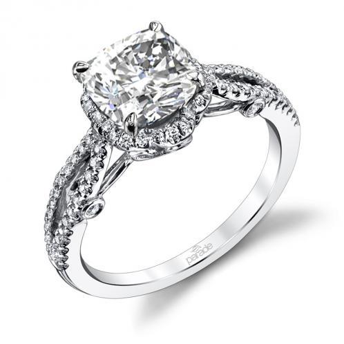 Parade Design Hemera Bridal Split Band Halo Pave Engagement Ring