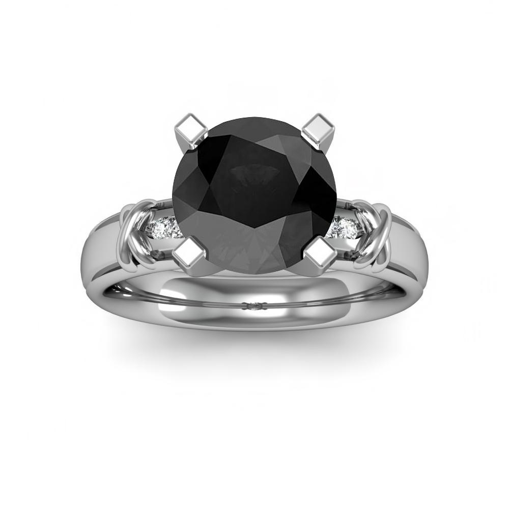 X-Design w/ Round Channel Sidestones Natural Diamonds Engagement Ring