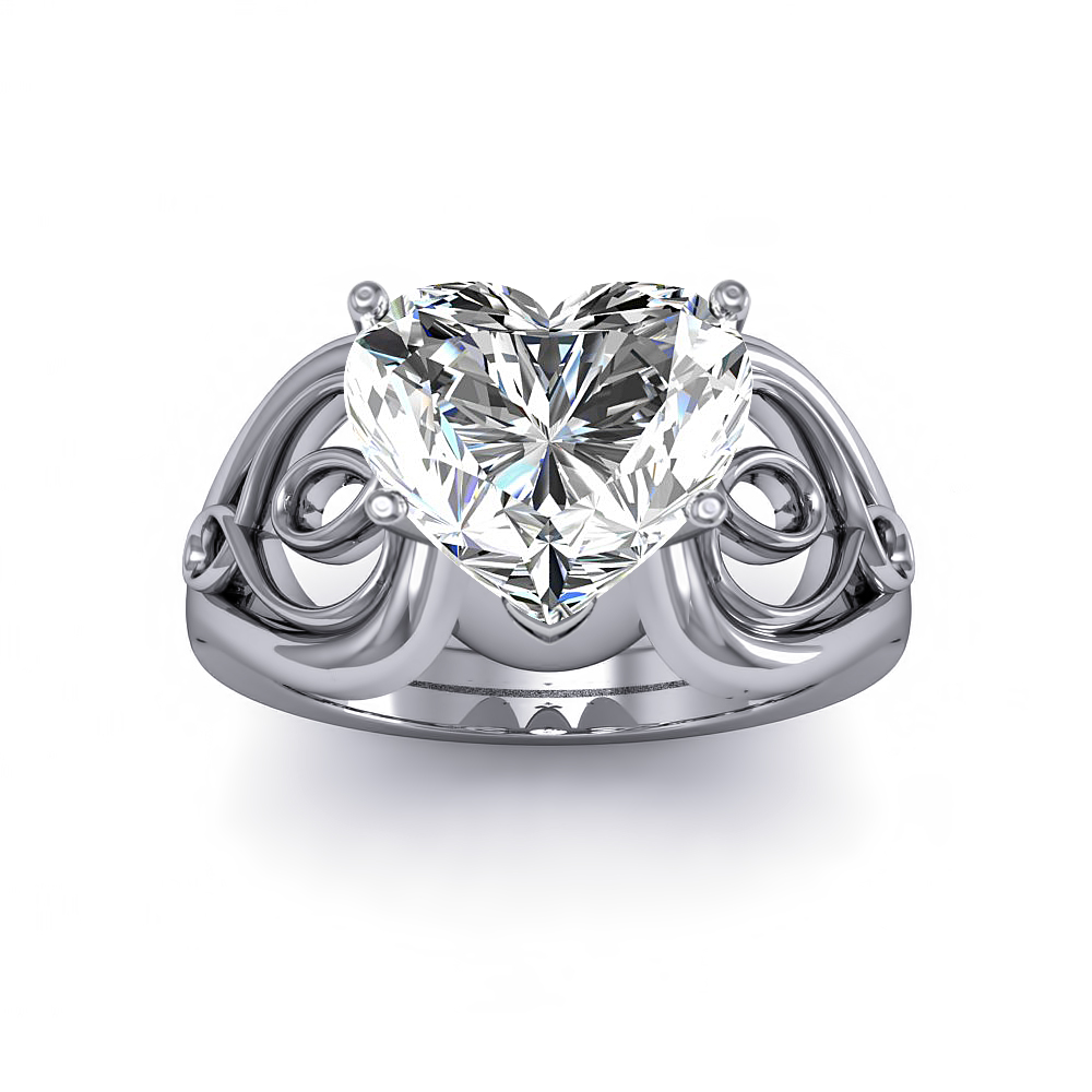 Solitaire Heart Scroll Diamond Engagement Ring