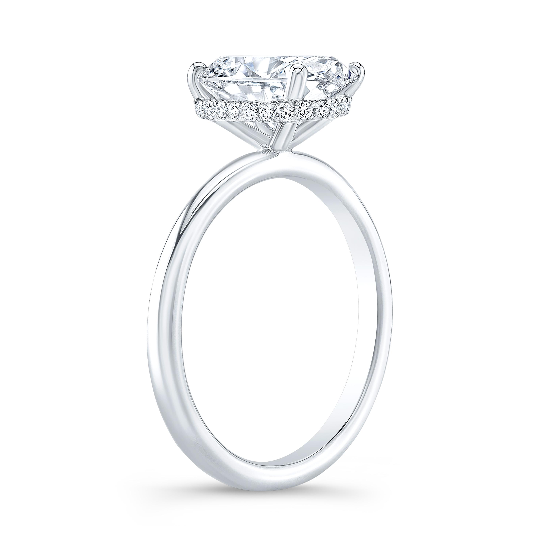 Solitaire Hidden Halo Diamond Engagement Ring