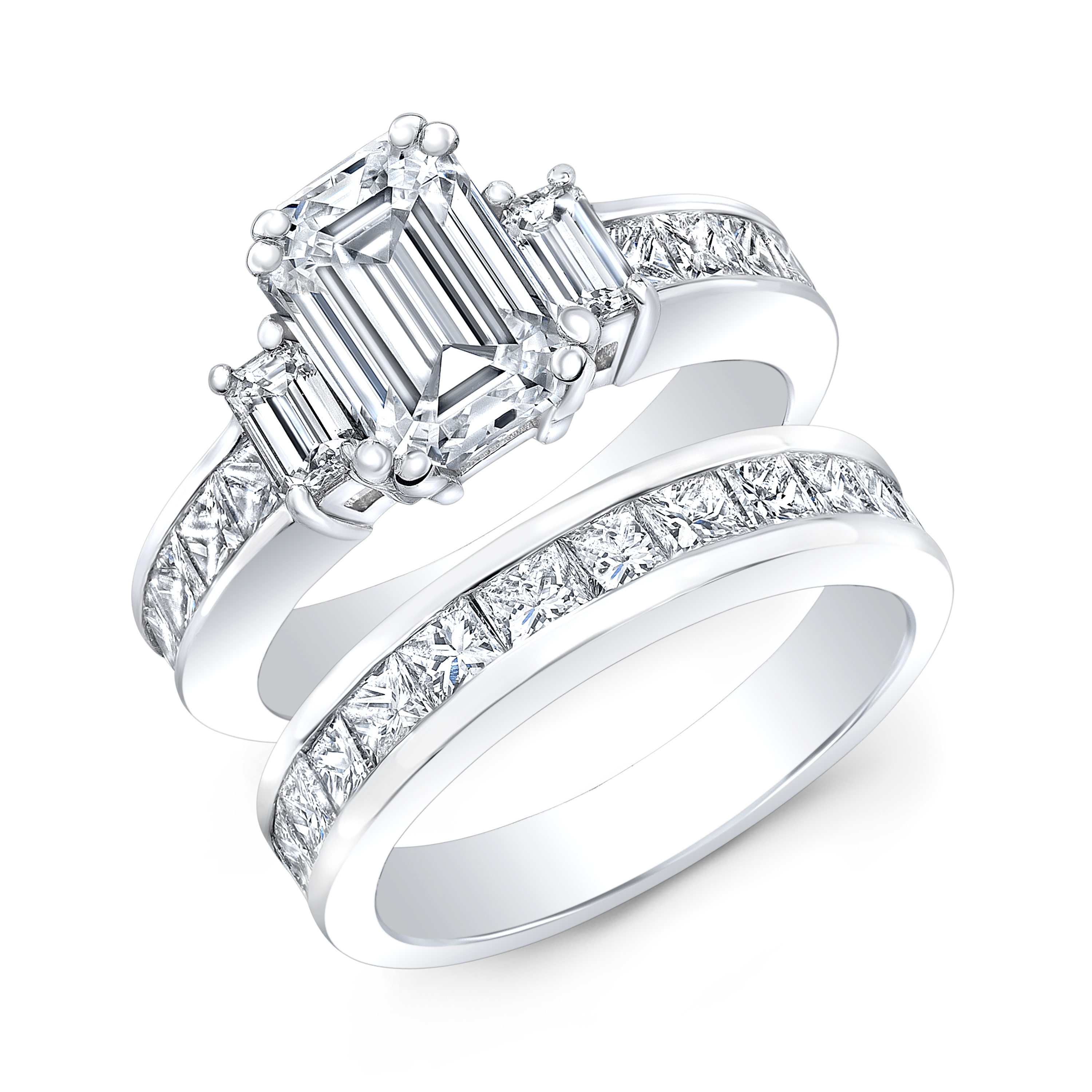 Classic 3 Stone Emerald Princess Channel Engagement Ring