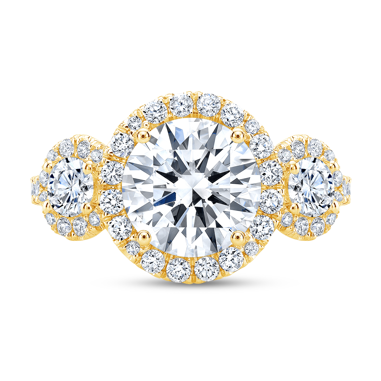 3 Stone Halo Pave Diamond Engagement Ring