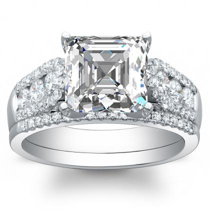 240ct natural diamond asscher cut channel pave setting natural diamonds engagement ring 14k white gold gia - 5000 Wedding Ring