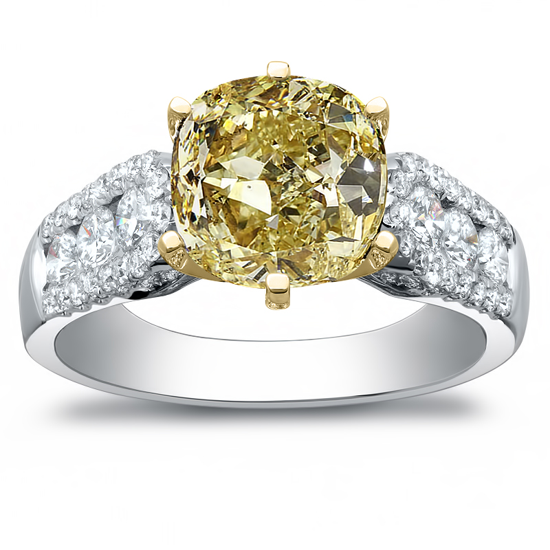 Channel Pave Setting Natural Diamonds Engagement Ring
