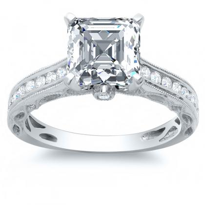 Milgrains Channel Set Engagement Rings
