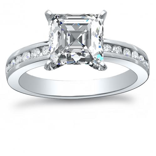 Channel Set Natural Diamond Engagement Ring