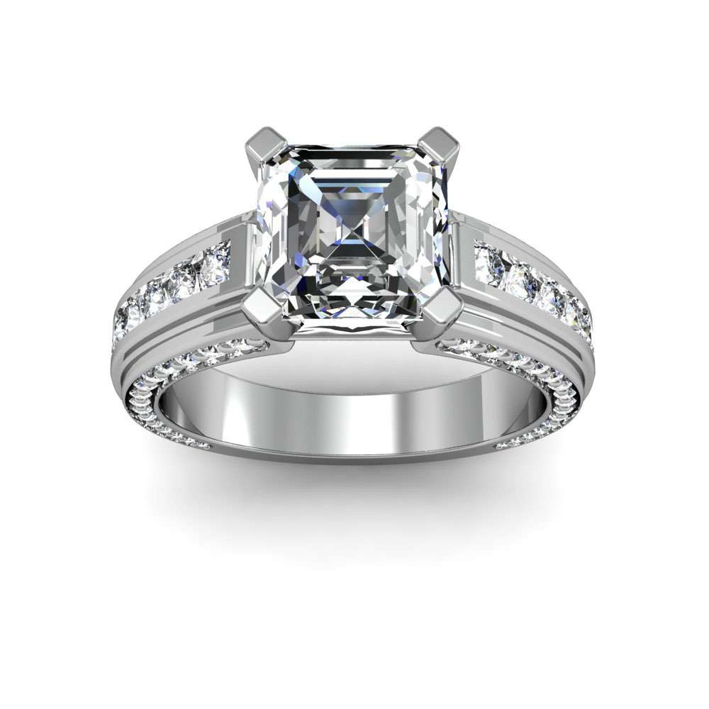 Channel and Bead Set Natural Diamonds Engagement Ring