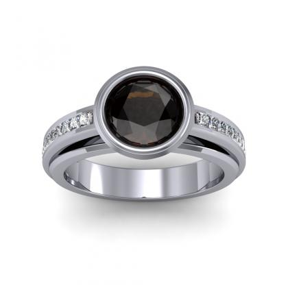 Bezel Set Black Diamond Engagement Rings