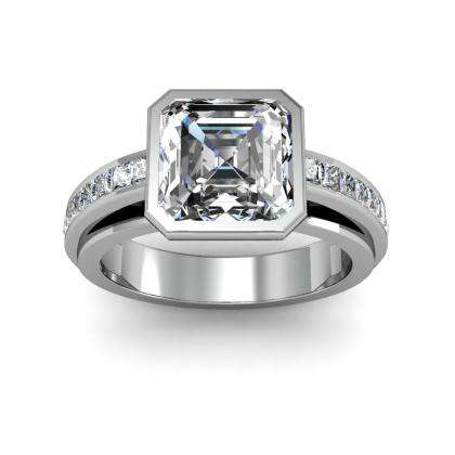 Asscher cut Bezel Set Engagement Rings