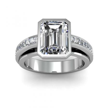 Emerald cut Channel Set Engagement Rings