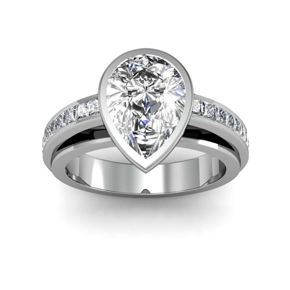 Bezel Channel Setting Natural Diamonds Engagement Ring