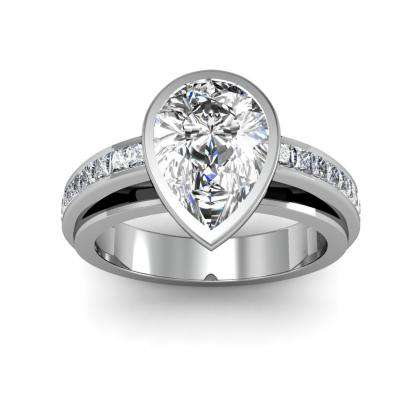 Pear cut Bezel Set Engagement Rings