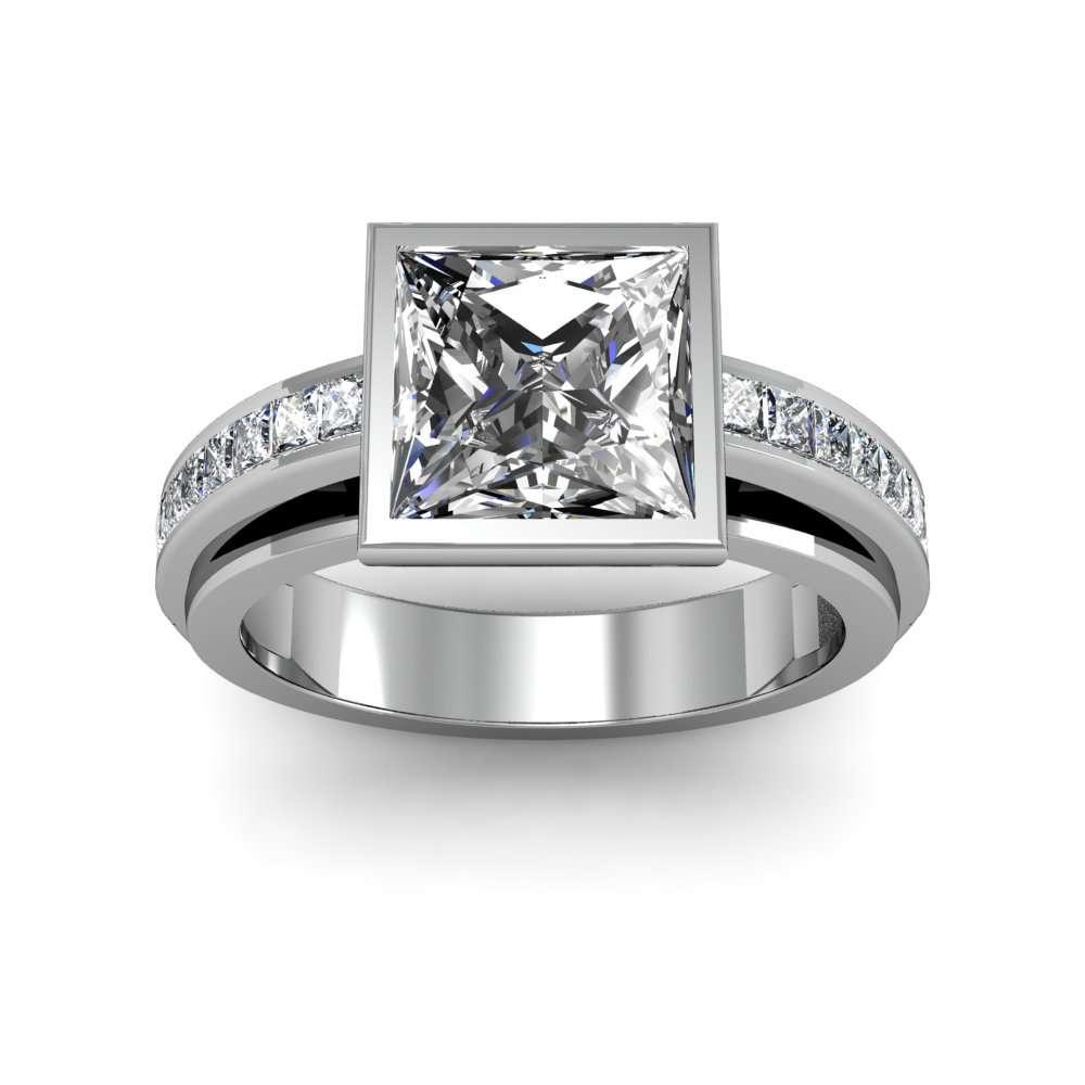 1 9ct Princess Cut Natural Diamond Bezel Channel Set