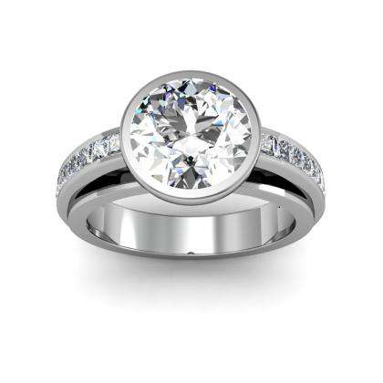 Round cut Bezel Set Engagement Rings