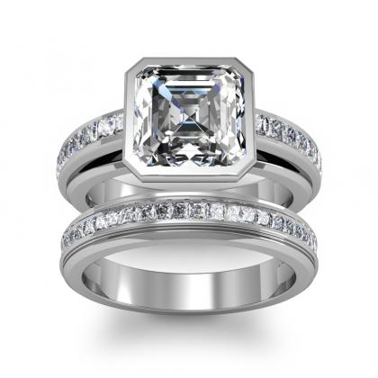 Channel Set Bridal Wedding Ring Sets