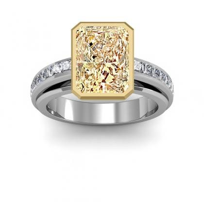 Radiant Cut Channel Set Yellow Diamond Engagement Rings