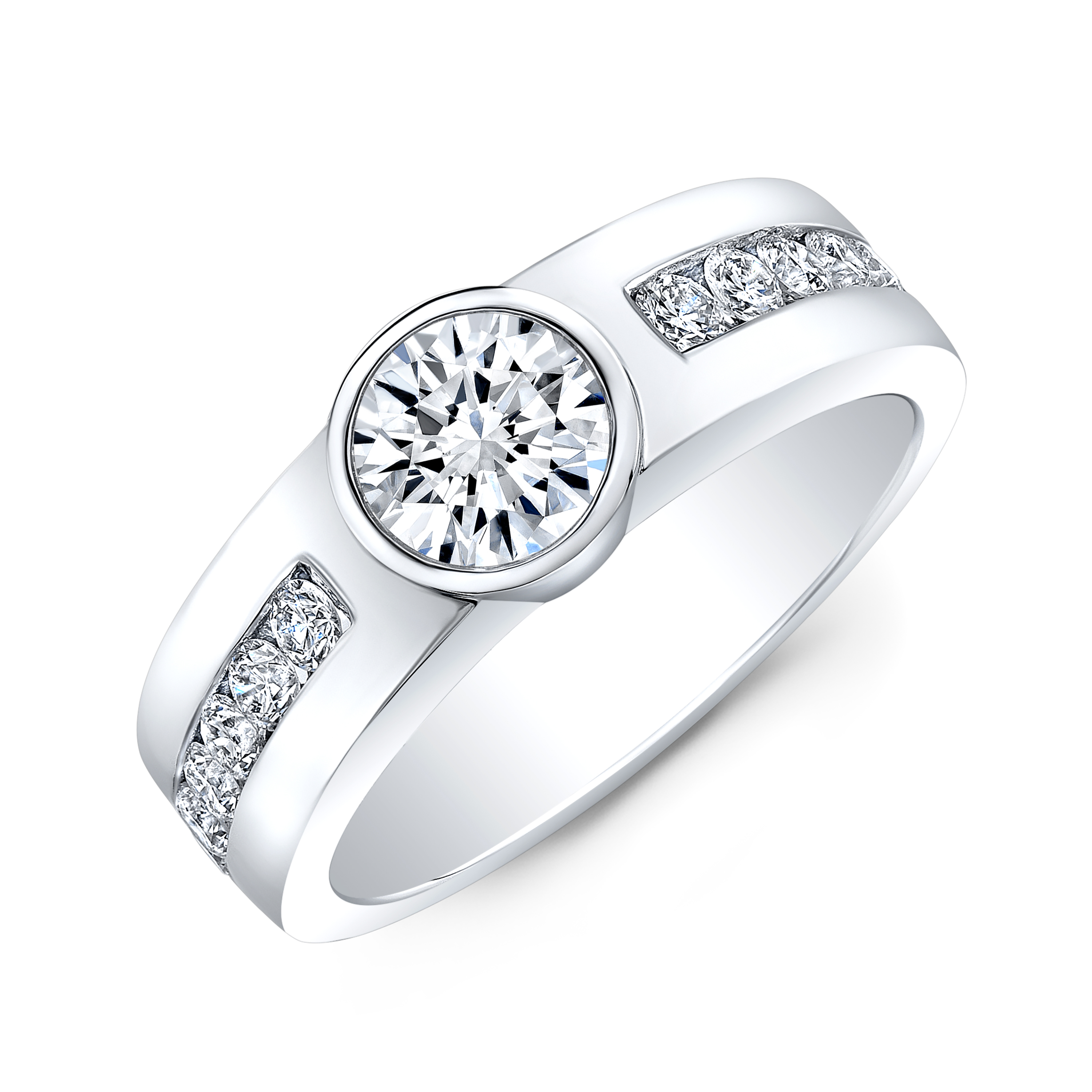 Wide Shank Round Channel Diamond Engagement Ring or Men's Band