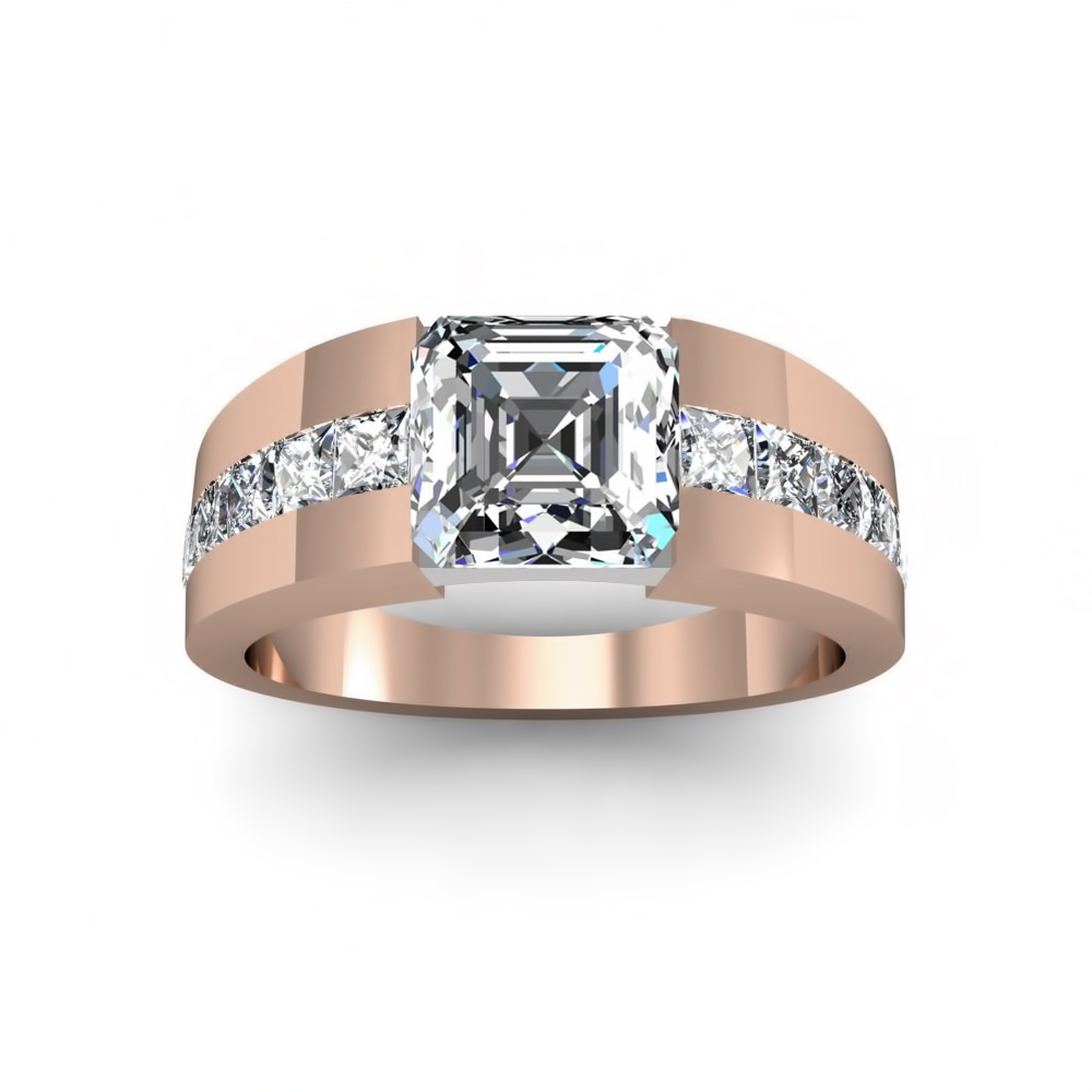 Wide Shank Princess Channel Natural Diamonds Engagement Ring