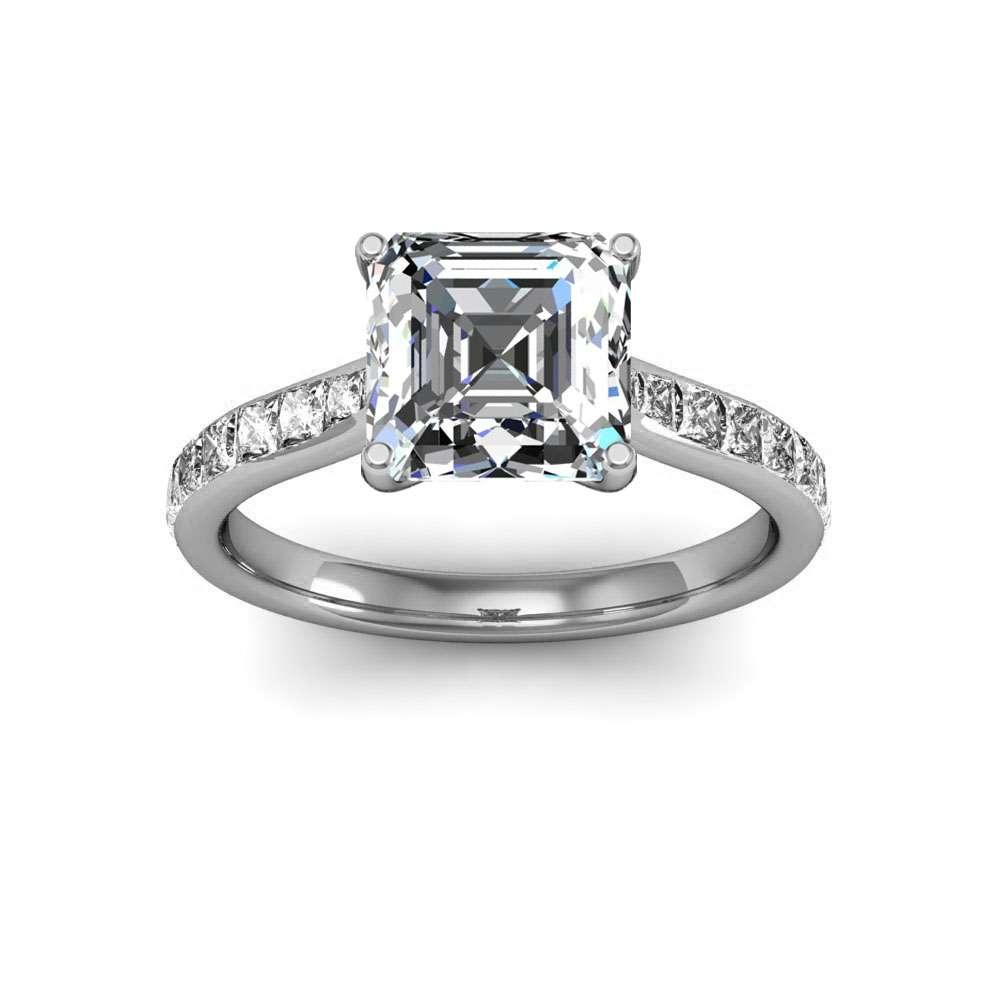 Prong Princess-cut Channel Natural Diamonds Engagement Ring