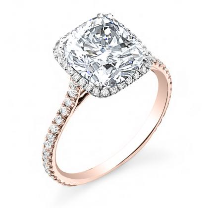 Rose Gold Cushion cut Engagement Rings