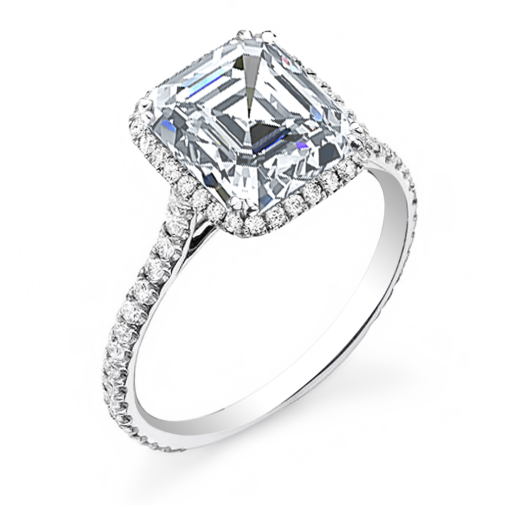 Halo U Prong Pave Natural Diamonds Engagement Ring