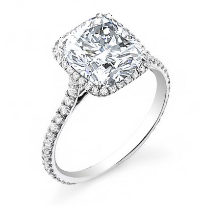 White Gold Cushion cut Engagement Rings