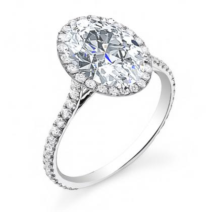 Oval cut Pave Engagement Rings