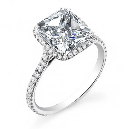 Princess cut Pave Engagement Rings