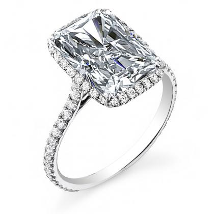 Radiant cut Pave Engagement Rings