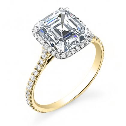Yellow Gold Asscher cut Engagement Rings