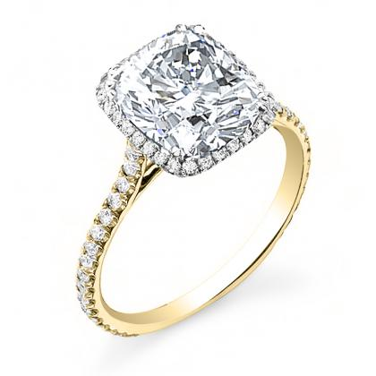 Yellow Gold Cushion cut Engagement Rings