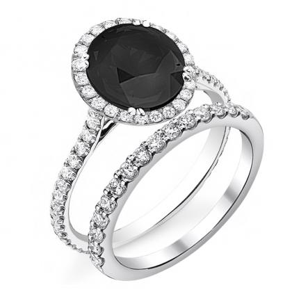 Cathedral Black Diamond Engagement Rings